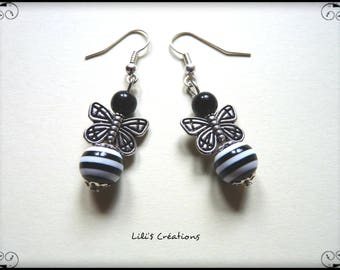 """Earrings """"black and White Butterfly"""""""