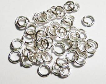 Set of 10 silver ring 6 mm - lead and nickel free