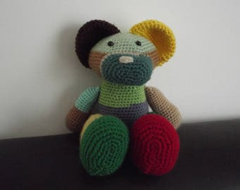 Multicolored handmade crochet bear