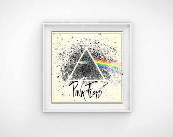 Pink Floyd Poster Wall Art - Paint Splatter Dark Side of the Moon - 12x12 Digital Download