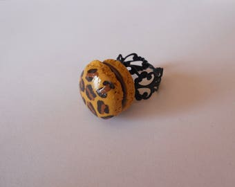 Black filigree - leopard button ring