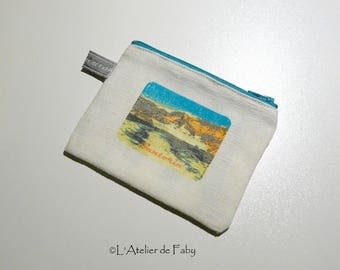 Beautiful small pouch purse travel theme