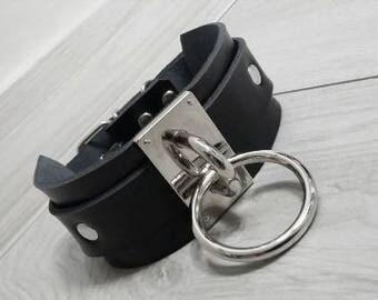 Genuine Leather Choker Black Silver