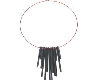Recycled wiper red necklace