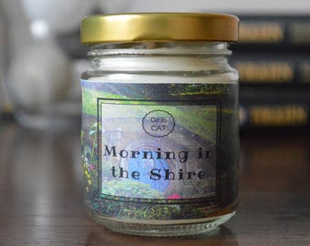 LOTR inspired candle, Candles Lotr, Morning in the Shire Candle, Tolkien, Bookworm Gift, Geek Gift, Book Candle, The Shire, Hobbits, Scented