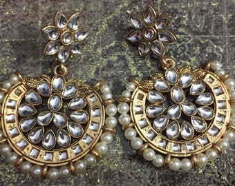 Indian Jhumka, Chandbali Earrings, Indian Earrings, Gold Jhumka,Kundan Jhumki,Indian Jewelry,Bollywood Fashion, Jhumki Kundan Polki Set USA