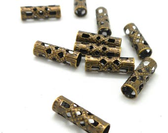 Set of 50 tube beads bronze metal filigree