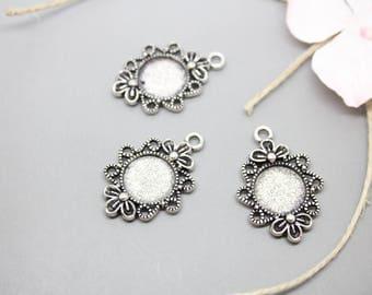 5 Silver Flower ring 12mm - SC41120 - charm pendants