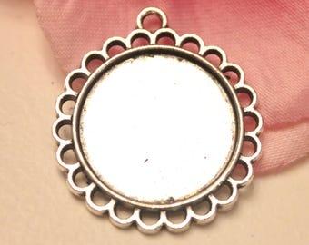 x 1 medium round pendant silver 20mm cabochon