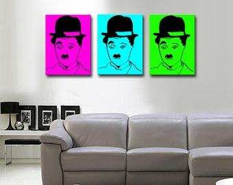 CHARLOT POP-ART 30 x 40 canvas triptych