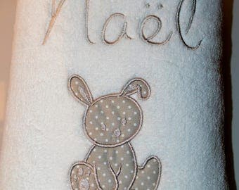 fleece blanket baby embroidered name and very soft beige and white rabbit