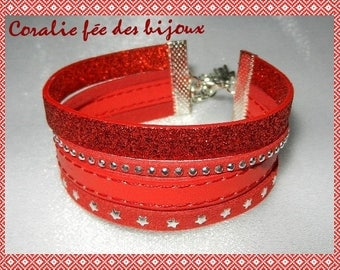 sequined and synthetic, strip studded and starry red suede Cuff Bracelet