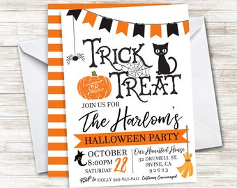 Halloween Party Invite Invitation Digital 5x7 Family Annual Trick or Treat Gathering Friends Hallows Eve