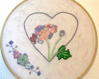 """Number 4, Hydrangea hand made embroidery 8"""" hoop"""