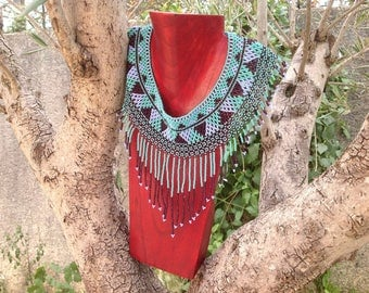Mexican woven bib necklace beads