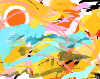 Taming the Fire signed original abstract art on paper