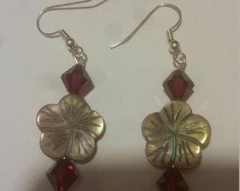 Red and Tan Floral Earrings
