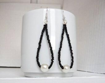 tear drop earrings with black seed beads and pearl earrings