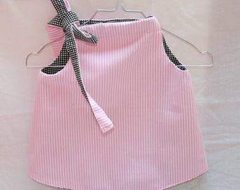 Pink stripes and black and white Plaid reversible bib