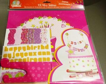 set of festive party cake decoration Kit atmosphere birthday Princess girl cake banner pennant flat princess