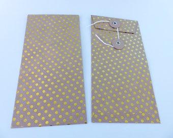 1 rectangular bright yellow dots and Japanese closing kraft bag envelope