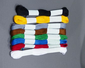 8 skeins yarn embroidery muticolore red blue grey white green yellow black brown 8 yards each skein
