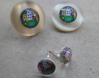 Ring and earrings studs glass cabochons 10 mm and 14 mm naïve painting set brooch