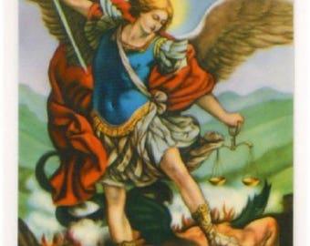 Laminated Holy picture Saint Michael Archangel 8.5 cm x 5,5 cm