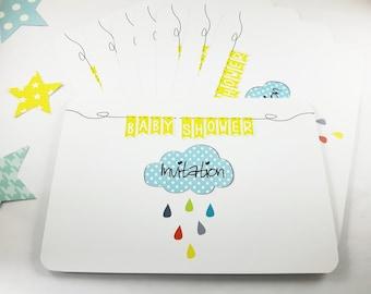 "Set of 8 unisex Babyshower ""Invitation"" color invitation cards"