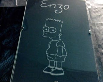 "Frame wall coasters in 10 x 15 cm free customization - engraving of the character ""Bart Simpson"" and the child's name"