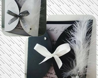 black and white Pocket wedding invitation