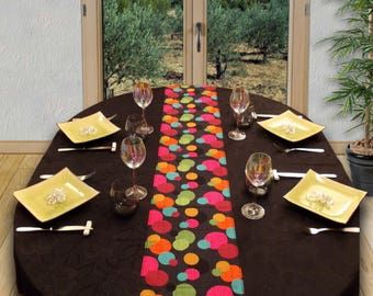 "Table runner 27 cm x 186 cm ""Effervescence"" multicolor-fuchsia/green Emerald/orange"
