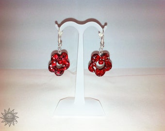set of red glass and red flower drawbench beads
