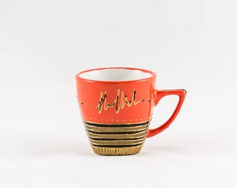 Orange black and gold colors hand painted 10 cl porcelain coffee mug