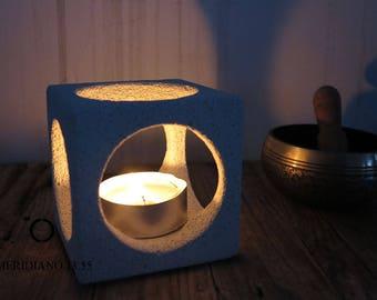 tealight holder, cube concrete  tealight handmade tealight 10x10 cm