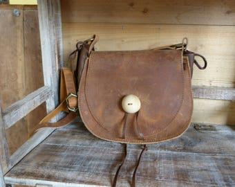 """Aged"" Brown Messenger bag"