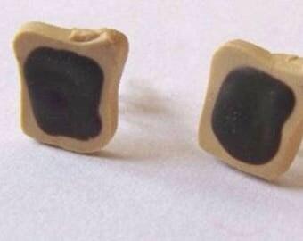 Polymer clay chocolate cake earrings