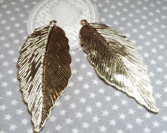 """☆ Large pendant """"Feather"""" gold metal, 71 x 29mm, hole 2 mm. ☆"""