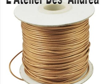 Golden beige waxed cord 1 mm, by 2 meters