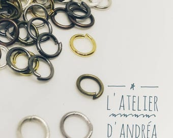 Brass rings / 5 mm/mixed colors / set of 10 grams, approximately 220 rings