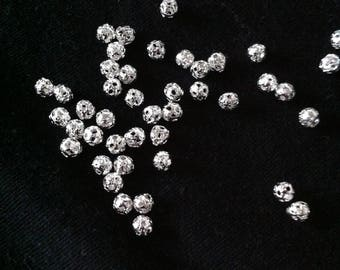 10 beads pattern hollow hole 4mm silver