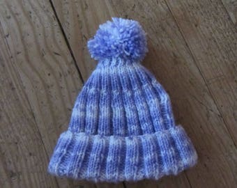 Purple wool hat with Pompom for girl 2 to 4 years