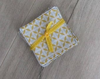 Washable cotton wipes  and gray microfiber