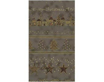 patchwork Christmas trees ref ST4595361 taupe fabric