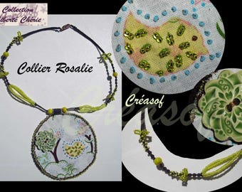 Fabric necklace embroidered with beads and cermamique: ROSALIE