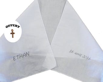 Scarf of baptism for large embroidered with the child's name and date of baptism