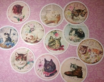 Vintage shabby chic style set of 11 beautiful round stickers with images of cats