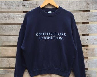 Vintage Benetton Sweatshirt Big Spell Jumper Pullover 90s S Size Rare Item