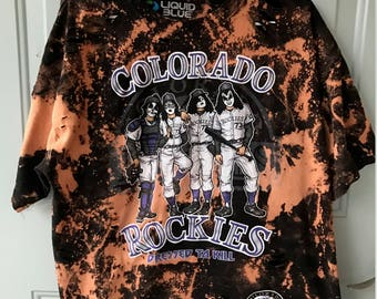 Bleached & Ripped Vintage KISS MLB Colorado Rockies Shirt