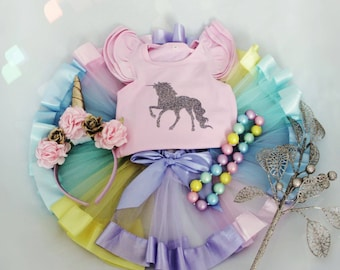 Baby Girl Unicorn Outfit - First Birthday Outfit - 1st Birthday - Rainbow Ribbon Tutu - Pastel Ribbon Tutu - Unicorn Headband